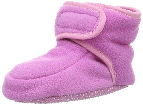 Playshoes Baby-Schuhe aus Fleece, Krabbelschuhe für Mädchen und Jungen mit rutschhemmender Noppen-Sohle, Pink (Rosa), 16/17 EU -