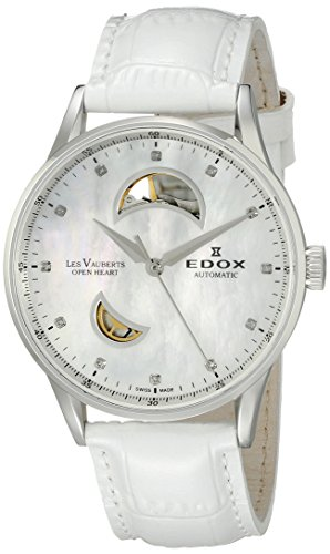 Edox Women's Les Vauberts 37mm Leather Band Automatic Watch 85019 3A NADN