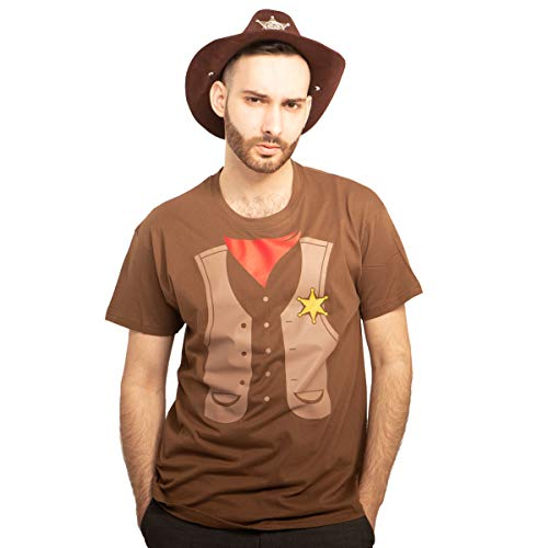 Set Cowboy Sheriff Kostüm T-Shirt + Hut Karneval, JGA, Party T-Shirt Large Braun