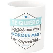 Mr. Wonderful Taza Te Quiero Igual Que Ayer Porque Más Es Imposible, Cerámica, Blanco, 8 X 9.5 cm