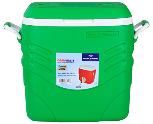 Princeware Plastic Ice Box with Handle, 28 Liters, Green