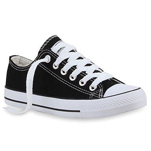 Stiefelparadies Damen Sneakers Turn Freizeit Low Sneaker Übergrößen Prints Glitzer Denim Schuhe 24761 Schwarz Ambler 43 Flandell Low Top Schuhe
