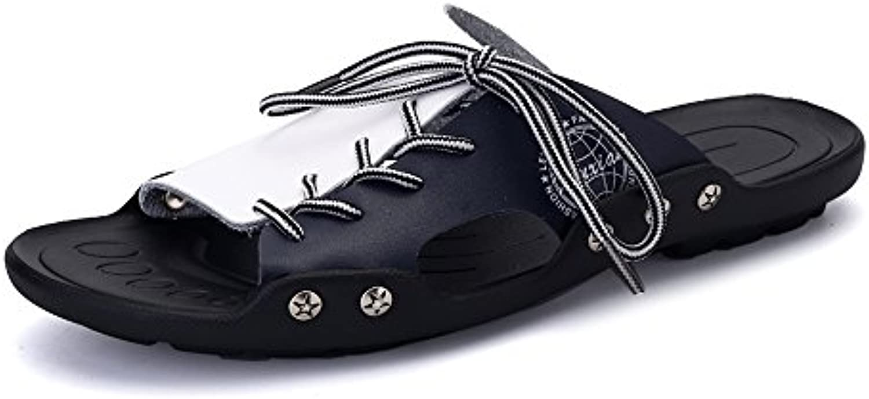 Yao Leder Strand Hausschuhe  Sommer Classic PU Leder Casual Lace up Rutschfeste Weiche Sohle Open Toe SandalenYao Hausschuhe Classic Rutschfeste Sandalen