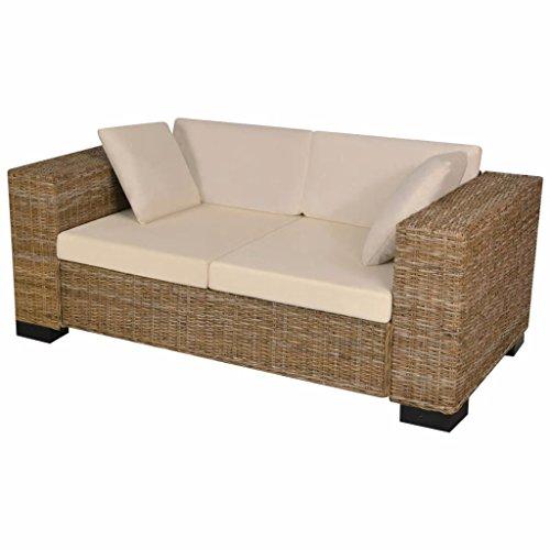 Zora Walter 7-TLG. 2-Sitzer Sofa Set Echtes Rattan Couch Schlafsofa Bettsofa Mit 2 x Sitzkissen,2 x R¨¹ckenkissen,2 x Sofakissen