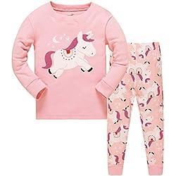 Tkiames Traje de Dormir niña Jirafa algodón Niños Manga Larga Pijama 98104110116122128134140146 Unicornio 4-5 Años