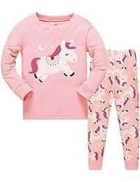 6caa12c343 Qzrnly Mädchen Schlafanzug Giraffe Baumwolle Kinder Langarm Pyjama 98 104  110 116 122 128 134 140