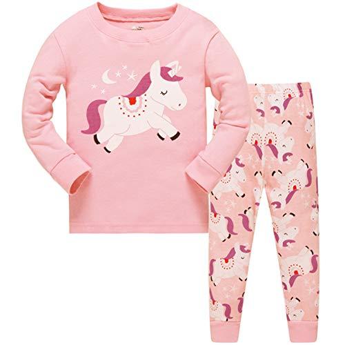 Tkiames Mädchen Pyjama Giraffe Langarm Baumwolle Schlafanzug Set Nachtwäsche Nachtwäsche Gr. 2-3 Jahre, Einhorn