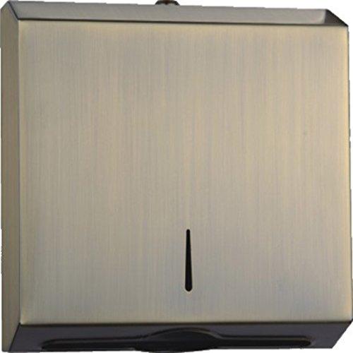 Papierhandtuchspender Edelstahl Falthandtuchspender zur Wandbefestigung für gefaltete Handtücher size 260x128x270mm (Dunkelgeld)