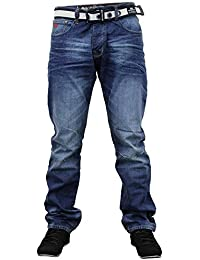 Crosshatch Mens Gamitto Straignt Leg Jeans Nouveau Milieu Lavage