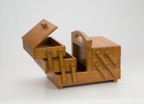 Hobbygift Nähkästchen 3-Tier-Nähkästchen, Holz, Mitte Schatten/braun