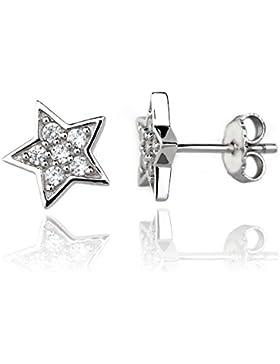 Eye Candy Damen-Ohrstecker Ohrringe Stern 925 Sterling Silber rhodiniert mit 12 weißen Zirkonia Steinen 10.4mm...