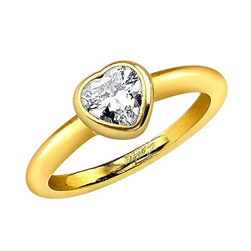 Piersando Damen Ring Verlobungsring Edelstahl mit weißem Herz Kristall Strass Stein Damenring Trauring Gold vergoldet Größe 49 (15.6)