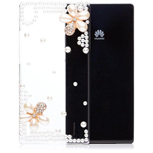 iCues Huawei Ascend P7 Perlblume Cover - Klar - Hochwertiges Perlen & Strass Design + Displayschutzfolie