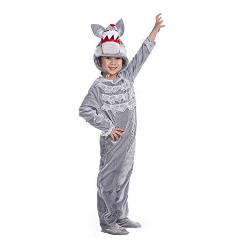 Neugeborenen Wolf Kostüme Halloween (Honeystore Kind's Unisex Wolf Kostüm Tier Cosplay Jumpsuit Pyjamas Siamesische Kleidung)
