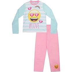 Pijama para niñas adolescentes, diseño de emoji y hashtag #Love, de 8 a 14 años Rosa rosa 11-12 Años