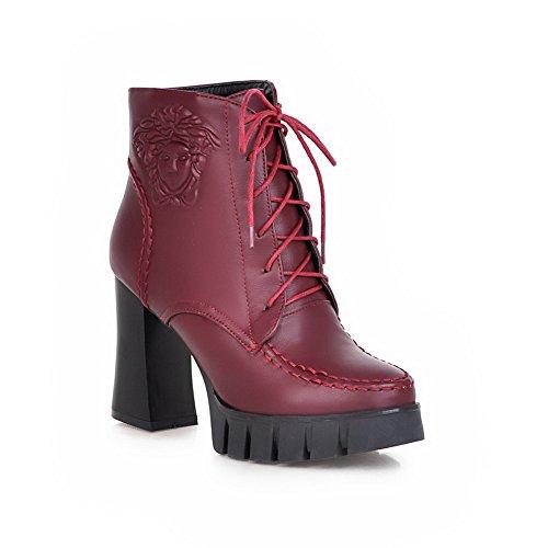 VogueZone009 Damen Niedrig-Spitze Gemischte Farbe Schnüren Hoher Absatz Stiefel, Rot, 39