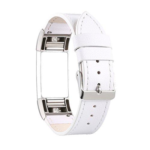 Für Fitbit Charge 2 Armband Rosa Schleife Crazy Horse Muster Leder Armbänder Fitness Erstatzband mit Metallschließe für Fitbit Charge 2 Weiß