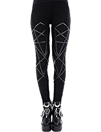 Leggings de Cintura Alta Elásticos de Restyle en Algodón de estilo Gótico NuGótico Punk Ocultismo Pentagrama