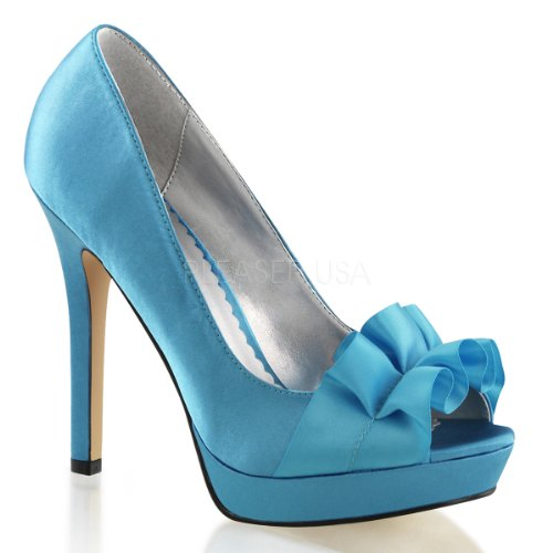 Fabulicious Lumina-42 sexy Platform Peep Toe Pumps, Blau-Satin, 35-41 Blue Satin