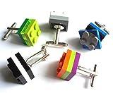 3 Colour Cufflinks Handmade with Toy Building Bricks & Plates (1 pair)