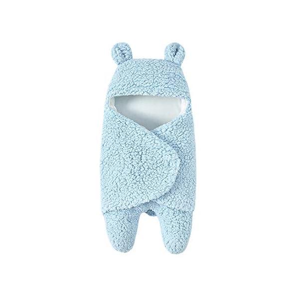 Saco de Dormir con Capucha para bebé recién Nacido, Manta para bebés de 0 a 12 Meses, Blanket Swaddle Linda Encapuchado