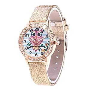 Digitaluhr Für Kinder, Jugendliche Leder Und Goldenes Zifferblatt Diamant Quarzuhr, Mit Jintong Farbe Wählen Sie Analog Digital Watch-Geschenk