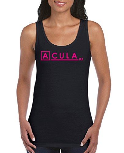 Comedy Shirts - Acula M.D. - Scrubs - Damen Tank Top - Schwarz / Pink Gr. XL (Katzen Scrub Top)