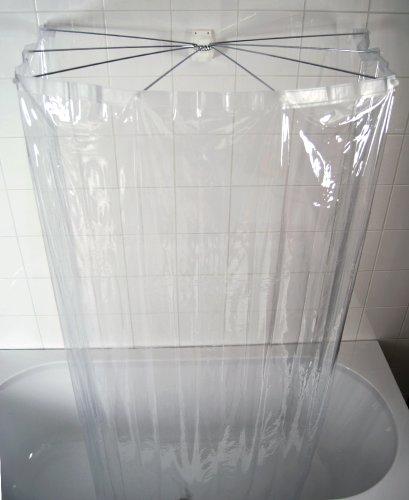 duschvorhang aufhaengung Ridder 58200-350 Duschspinne, Duschfaltkabine, Ombrella mit Folienduschvorhang, Brillant transparent