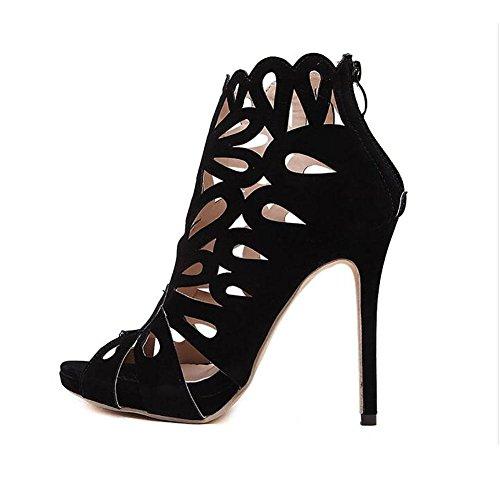 Cuir été poissons bouche Fashion creux rétro Stiletto sandales femmes 38