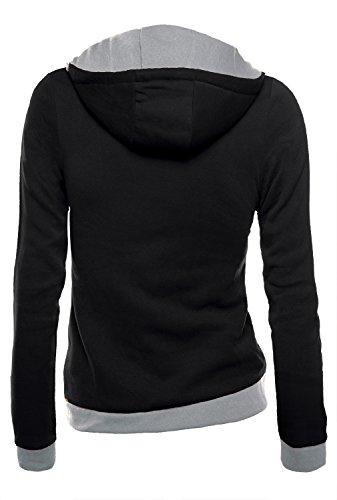 DJT Damen Sweaters Hoodie Sweatshirt Schraeg Zipper Kapuzenpllover Schwarz L - 2