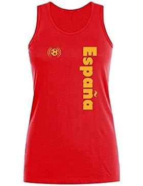 Green Turtle T-Shirts Camiseta sin Mangas para Mujer - Apoya a la Selección Española en el Mundial de Fútbol!