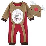 Mombebe Bebé Niños Disfraz Navidad Reno Mameluco con Gorros (Reno, 9-12 Meses/90)
