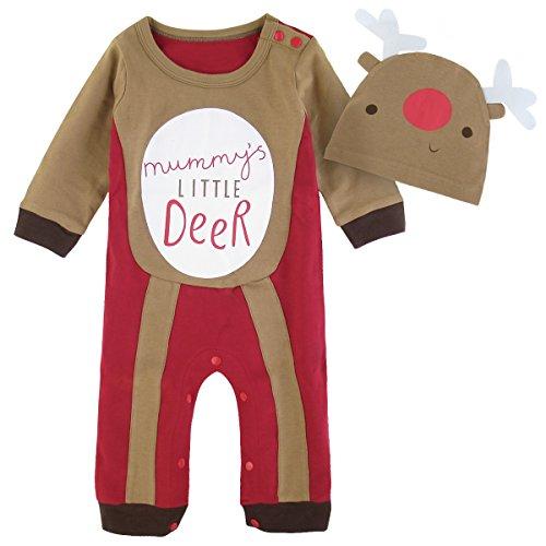 Mombebe Bebé Niños Disfraz Navidad Reno Mameluco con Gorros (Reno, 6-9 Meses)