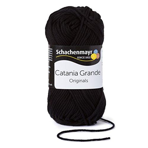 Schachenmayr Catania Grande 9807331-03110 Schwarz Handstrickgarn, Häkelgarn, Baumwolle (Sommer Stricken Muster)