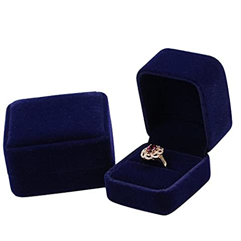 Dark Blue Classic Velvet Engagement Ring Box