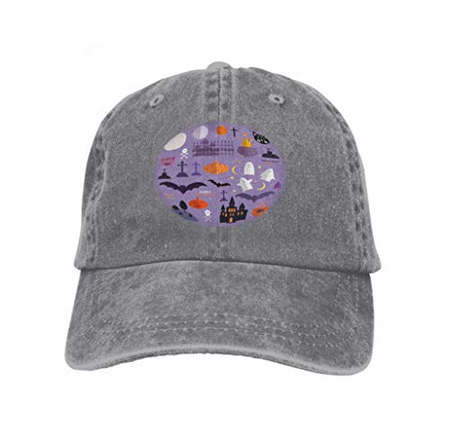 Xunulyn Unisex Mesh Hat Adult Baseball Caps Sunshade Hat Snapback Cap Halloween Set Background Holiday Template Haunted Castle TRE Gray