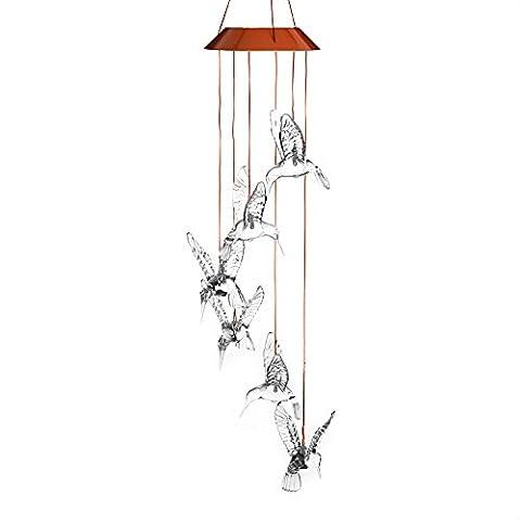 Variation de couleur clair Colibri Carillon, Anzome spirale Spinner Carillon Portable extérieur décoratifs romantique Windbell lumière pour patio, terrasse, cour, jardin, maison, allée