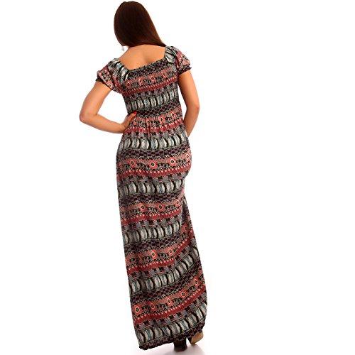 Damen Maxikleid Carmen Ausschnitt Kleid Lang Rosa