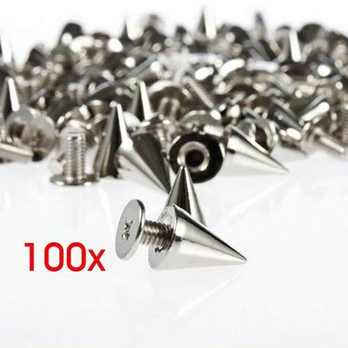 Gleader 100 x 9.5mm clou pyramide argente style punk pour DIY le sac/bracelet/chaussures