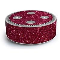 atFoliX Amazn Echó Dot (2. Generation) Skin FX-Glitter-Ruby-Red Designfolie Sticker - Reflektierende Glitzerfolie