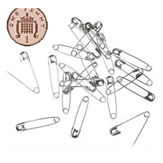 100 Small Tiny Metal Steel Mini Safety Pins 2cm 20mm Silver
