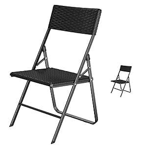 songmics 2er set klappstuhl gartenstuhl klappbar stabil in rattanoptik f r balkon. Black Bedroom Furniture Sets. Home Design Ideas