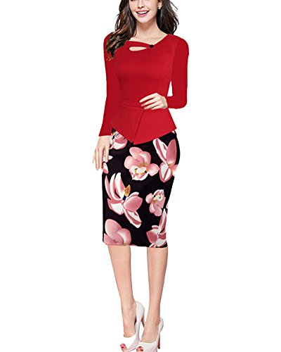 Robe Élégante Moulante Floral Manches Longues/Sans Manches Robe Rouge Manches longues