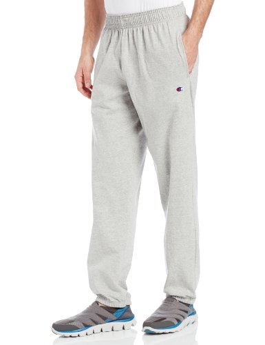 Champion Men's Closed Bottom Light Weight Jersey Sweatpant, Oxford Grey, Small 806 Oxford