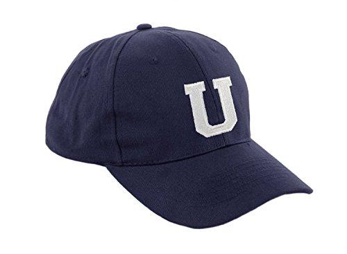 Unisex Jungen Mädchen Mütze Baseball Cap Marineblau Hut Kinder Kappe Alphabet A-Z Morefaz TM (U)