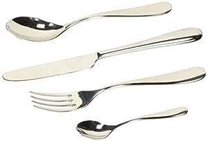 Alessi - 5180S24M - Nuovo Milano Servizio di posate composto da sei cucchiai da tavola, sei forchette da tavola, sei coltelli da tavola monoblocco, sei cucchiaini da caffè in acciaio inossidabile 18/10 lucido.