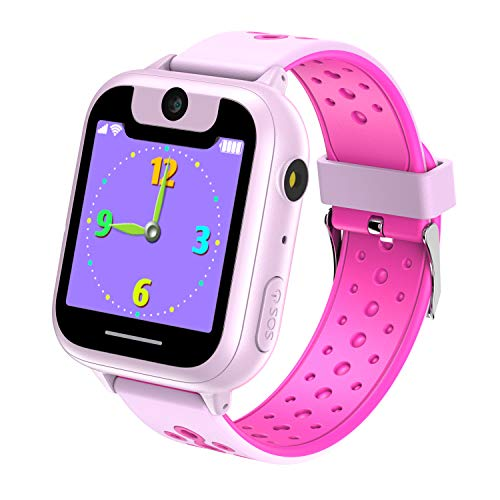 VANNICO Orologi Bambino Da Polso, Orologio Bambino Sportivo Orologio Digitale A LED, Bambini Gioco Smartwatch 1,44 Pollici (Rosa)