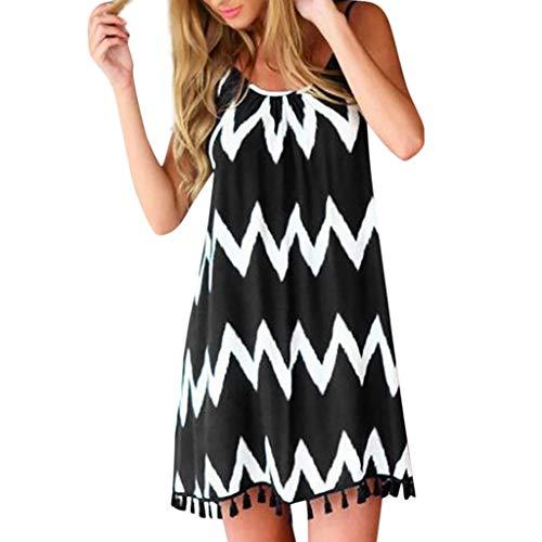 BHYDRY Frauen-Sommer-reizvoller Wellenmuster-Quastenbügel Sleeveless Feiertags-Kleid(Small,Schwarz) - Silber Maxi-kleid Glanz