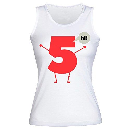 High Five Number Five Saying Hi Joke Men's Frauen Tank Top Shirt Extra Large (Hi Tank Neck)