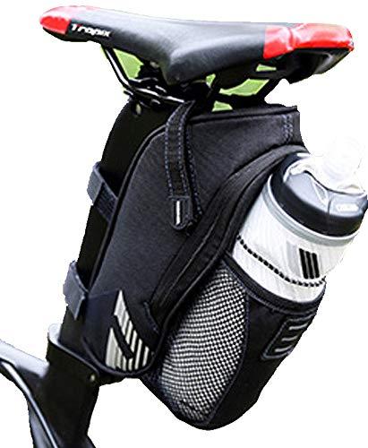 Fahrrad-Sattel-Tasche mit Flaschen-Halter für Mountainbike, Rennrad, e-Bike :: Wasserdicht :: Reißverschluss :: einfach abzunehmen :: 1 Stück